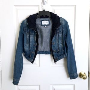 Cropped Jean Jacket with Attached Hoodie